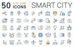 Stellen Sie Vektor-flache Linie Ikonen-Smart-Stadt ein Stockbild
