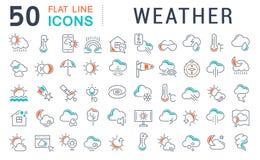Stellen Sie Vektor-Linie Ikonen des Wetters ein stockfoto