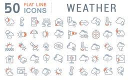 Stellen Sie Vektor-Linie Ikonen des Wetters ein stockfotos