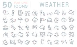 Stellen Sie Vektor-Linie Ikonen des Wetters ein lizenzfreie stockfotografie