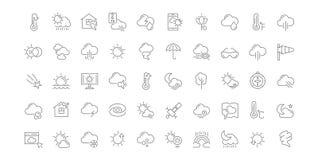 Stellen Sie Vektor-Linie Ikonen des Wetters ein stockbild