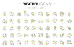 Stellen Sie Vektor-Linie Ikonen des Wetters ein lizenzfreie stockfotos