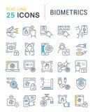 Stellen Sie Vektor-Linie Ikonen von Biometrie ein Lizenzfreie Stockfotografie