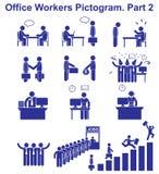 Stellen Sie VektorBüroangestelltpiktogramme ein Geschäftsikonen und Symbole von Leuten Lizenzfreies Stockfoto