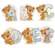 Stellen Sie Vektorbuchstaben des englischen Alphabetes mit lustigem Teddybären ein Lizenzfreie Stockbilder