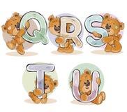 Stellen Sie Vektorbuchstaben des englischen Alphabetes mit lustigem Teddybären ein Lizenzfreie Stockfotos