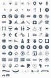 Stellen Sie vektorikonen, -zeichen, -symbole und -piktogramme ein. Lizenzfreie Stockfotos