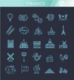 Stellen Sie Vektorlinie Ikonen im flachen Design Frankreich ein Stockfotos