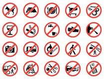 Stellen Sie verbotene Zeichen ein Stockfoto