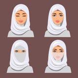 Stellen Sie vier arabische Mädchen in den verschiedenen traditionellen Kopfschmucken ein Vektor Stockbild