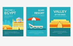 Stellen Sie vom Ägypten-Landverzierungsreise-Ausflugkonzept ein Ferien traditionell, Zeitschrift, Buch, Plakat, Zusammenfassung,  stock abbildung