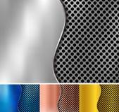 Stellen Sie vom abstrakten Gold, Kupfer, Silber, der blaue metallische Metallhintergrund ein, der von der Hexagonmusterbeschaffen stock abbildung