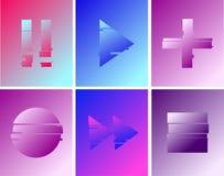 Stellen Sie vom abstrakten minimalen Spiel, Pause, Aufzeichnung, Spielknöpfe ein Schablonenentwurf für das Einbrennen, Werbung, R stock abbildung