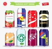 Stellen Sie vom alkoholfreien Getränk in der verschiedenen Aluminiumdose ein r stock abbildung