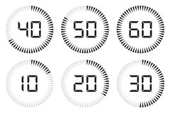Stellen Sie vom digitalen Timer, von der Uhr und von der Armbanduhr für Entwurf ein Auch im corel abgehobenen Betrag lizenzfreie abbildung