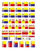 Stellen Sie vom Gebotszeichen, Gefahrzeichen, verbotenes Zeichen, Arbeitsschutzzeichen, warnendes Schild, Feuerrettungszeichen ei stock abbildung