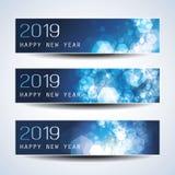 Stellen Sie vom horizontalen Weihnachten, neues Jahr-Titel ein, oder Fahnen entwerfen - 2019 vektor abbildung