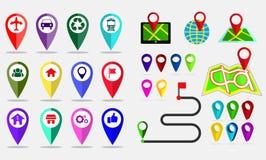 Stellen Sie vom Kartenstift ein und Bestimmungsort auf Anwendung oder Gerät lokalisieren stock abbildung