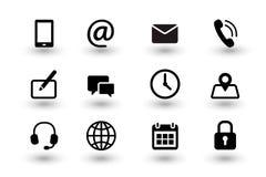 Stellen Sie vom Kontakt uns und Netz communacation Ikonen ein Einfache mattschwarze Vektorikonensammlung lokalisiert auf weißem H lizenzfreie abbildung