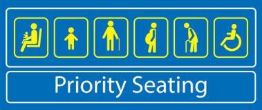Stellen Sie vom Prioritätssitzplatzaufkleber oder -aufkleber, für schnelle Massendurchfahrt oder anderen öffentlichen Transport e lizenzfreie abbildung