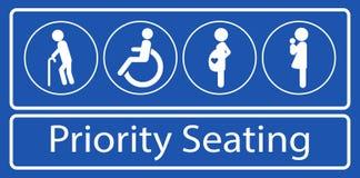Stellen Sie vom Priorit?tssitzplatzaufkleber oder -aufkleber, f?r schnelle Massendurchfahrt oder anderen ?ffentlichen Transport e lizenzfreie abbildung