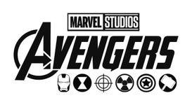 Stellen Sie vom Rächerlogo und von den Superheldikonen ein Wunder-Studios lizenzfreie abbildung