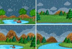 Stellen Sie vom Regnen im Park ein stock abbildung