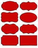 Stellen Sie vom roten Aufkleber mit unterschiedlicher Form lokalisiert auf weißem Hintergrund ein stockbilder