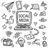 Stellen Sie vom Social Media kritzeln ein stock abbildung