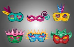 Stellen Sie vom Spaß und von den bunten Karnevalsmasken ein vektor abbildung
