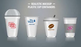 Stellen Sie vom Spott herauf realistische Schalenbehälter, mit klarem Plastik in den Wegwerfschalen ein, stock abbildung