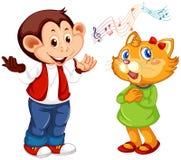 Stellen Sie vom Tier ein, Musik durchzuführen stock abbildung