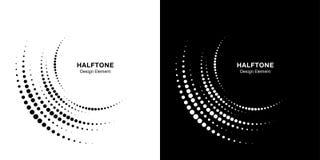 Stellen Sie vom unvollständigen Kreisrahmenpunkt-Logohalbtonhintergrund ein KREIS-Punktbeschaffenheit der halbrunden Ikone Halbto lizenzfreies stockbild