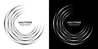Stellen Sie vom unvollständigen Kreisrahmenpunkt-Logohalbtonhintergrund ein KREIS-Punktbeschaffenheit der halbrunden Ikone Halbto lizenzfreies stockfoto