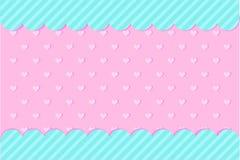 Stellen Sie vom Vektorhintergrund mit Herzen und Punkten f?r Einladungskarte ein S??igkeitsgesch?fts-Schaukastenrahmen stock abbildung