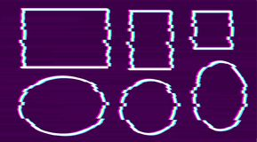 Stellen Sie vom weißen Pixelrahmenkreis, Rechteck, Oval, quadratische Form auf purpurrotem Hintergrund mit rosa ein, blau, Schrei vektor abbildung