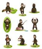 Stellen Sie vom Yeti- oder Bigfoot-Charakter in der unterschiedlichen täglichen Situation ein stock abbildung