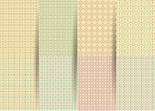 Stellen Sie von 6 abstrakten nahtlosen karierten geometrischen Mustern ein Vektor gelbes geometrisches ackground für Gewebe, Druc vektor abbildung