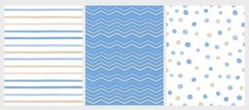 Stellen Sie von 3 abstrakten Vektor-Mustern Varius ein Weißer, beige und blauer Entwurf vektor abbildung