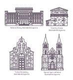 Stellen Sie von Bosnien Herzegovina-Gebäuden in der dünnen Linie ein lizenzfreie abbildung