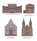Stellen Sie von Bosnien Herzegovina-Gebäuden in der dünnen Linie ein stock abbildung
