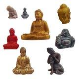 Stellen Sie von Buddha-Figürchen auf weißem Hintergrund ein lizenzfreie stockfotos