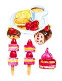 Stellen Sie von Bush-Kuchen, Donut und s??e Rolle mit Erdbeeren, Canapes von Muffins und von Erdbeeren, Tee mit Zitrone und Pfann stock abbildung
