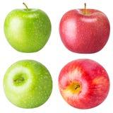 Stellen Sie von den Äpfeln ein, die auf weißem Hintergrund lokalisiert werden Lizenzfreies Stockfoto
