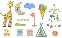 Stellen Sie von den Aquarellelementen der Kinder ein Nette Aquarellillustration vektor abbildung