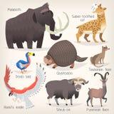 Stellen Sie von den ausgestorbenen Vögeln und von den Tieren mit Namen ein Liste von Säugetieren, von Vögeln und von Meerestieren stockfoto
