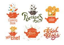 Stellen Sie von den Ausweisen, Aufkleber, Logos für Nahrungsmittelblog, Nahrungsmittelgeschäft ein, buchen Rezepte und Kochkurse stockfotografie