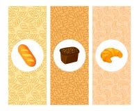 Stellen Sie von den Bäckereivektorkarikatur-Fahnenkarten ein lizenzfreie stockbilder