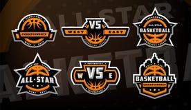 Stellen Sie von den Basketballlogos, Embleme, Aufkleber auf einem dunklen Hintergrund ein lizenzfreie abbildung