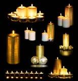 Stellen Sie von den brennenden Kerzen ein Lizenzfreie Stockbilder